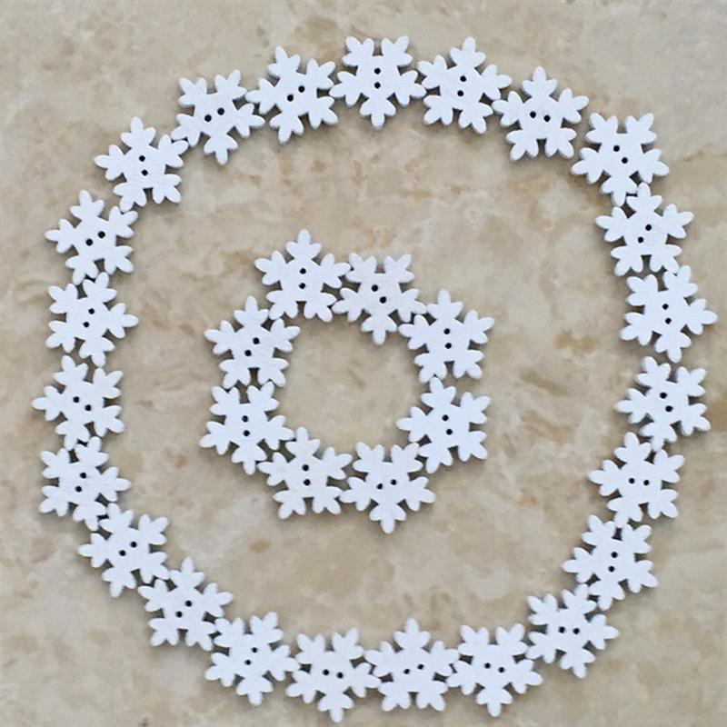 Home & Garden Hearty 50pcs Christmas Holiday Wooden Collection Snowflakes Buttons Snowflakes Embellishments 18mm Creative Decoration Apparel Sewing & Fabric