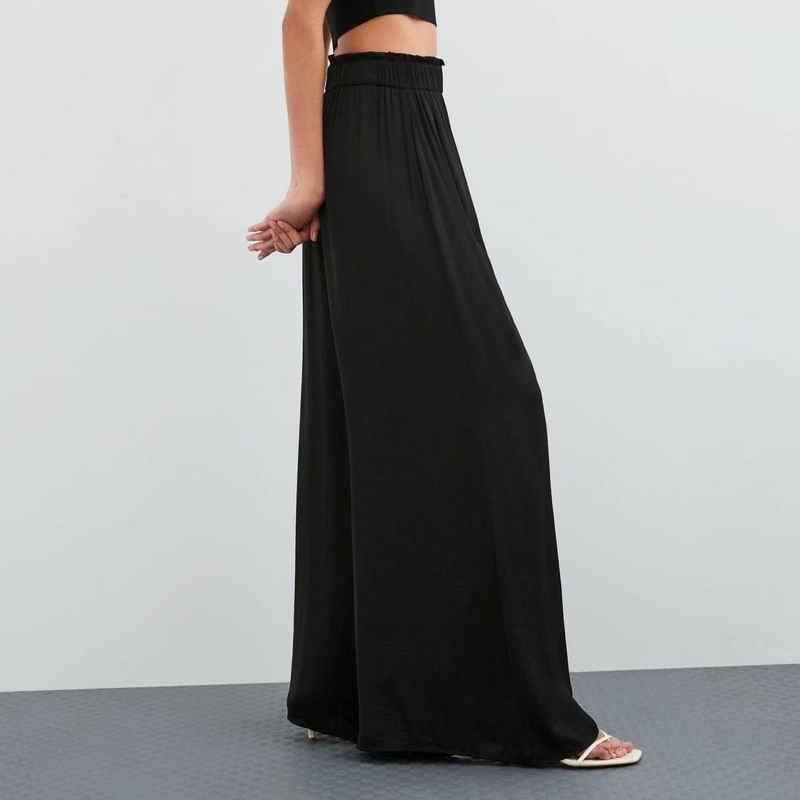 Women Wide Leg Pants Summer 2019 New Fashion Normcore Minimalist Clothing Elastic Waist Female Long Pant Loose Bottom