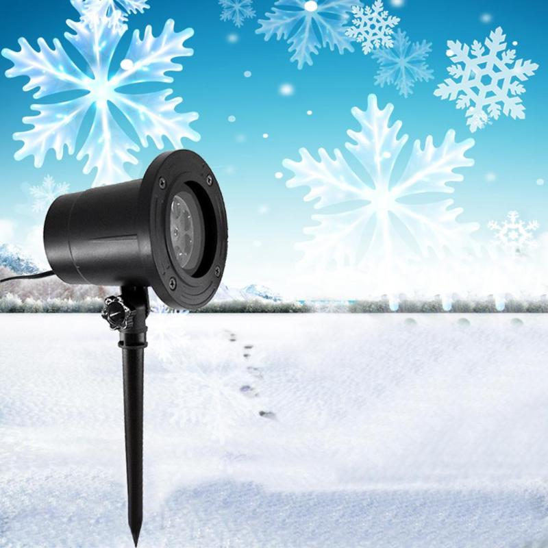 LED Dynamic Snowflake Effect Christmas Lights Outdoor Projector Lamp Garden Moving Xmas Stage Light Waterproof Landscape Light|Stage Lighting Effect| |  -