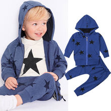0ecd39b4bb96 Toddle Kid Boys Girls Hooded Clothes Set Fashion Long Sleeve Stars Hooded  Sweater Coat Tops Long