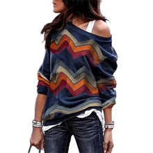 MYTL-Women Autumn Fashion Off Shoulder Long Sleeve Geometric Wavy Print T Shirt Ladies Casual Baggy Sweatshirt Pullover Tops