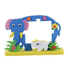 4Pcs Kids Puzzle Toys 3D Animal Zoo Elephant Turtle Dinosaur Rubber Photo Frame Roler Play Game Toys Insertion Board(China)