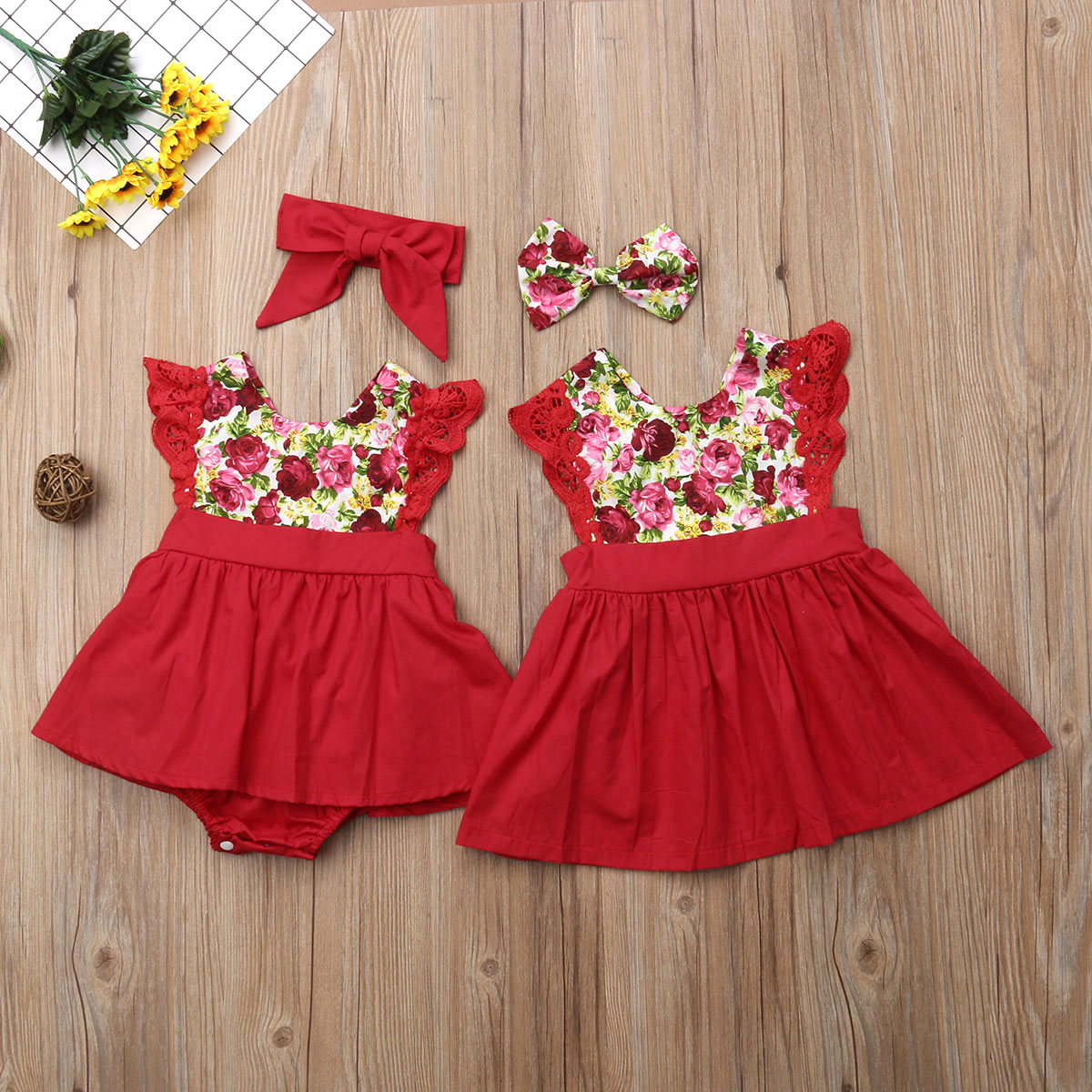 Little Girls Sister Matching Outfits Xmas Gift Toddler Baby Girl Kid Lace Romper Dress Party Dresses Princess Clothing