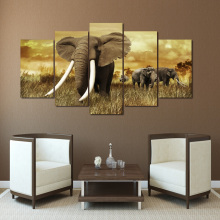 Modern Printed Poster Wall Art Modular 5 Panel Africa Elephants Landscape Frame Pictures Home Decor Living Room Canvas Painting
