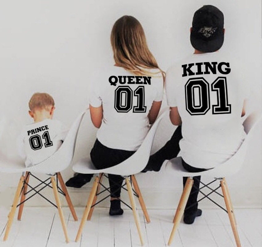 1pcs Family Look Short Sleeved T-shirt Father Mother And Kids Clothes 01 King Queen Prince Family Matching Outfits Clothing