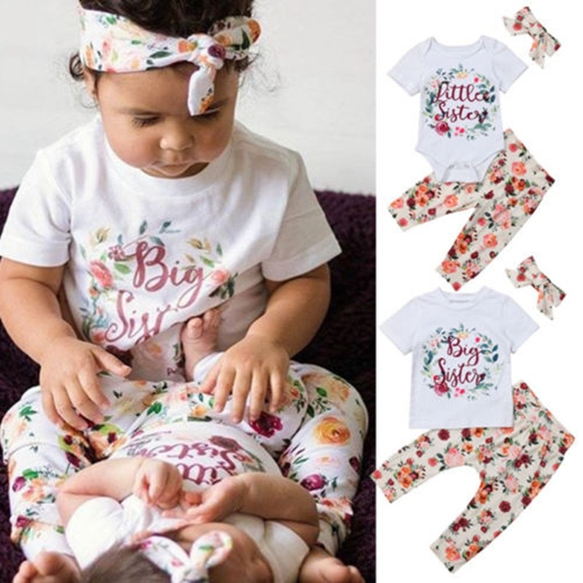c45684c14655 2019 Sweet Family Matching Clothes Big Sister Clothes Set T-shirt Little  Sister Romper Pritn Pant Outfits Set 0-5M