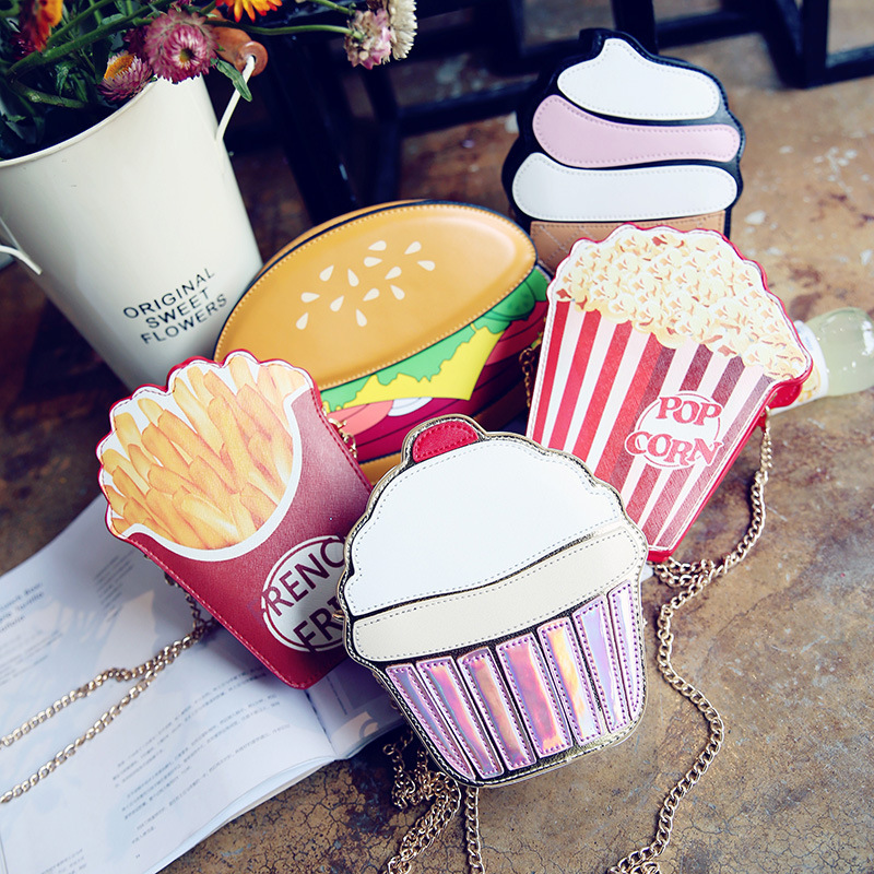 Creative Style Woman Hamburger Ice Cream Shoulder Bags Cupcake PU Chains Bags Cute Hamburger Popcorn Fries 3D Messenger Bags