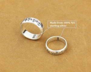 Image 4 - Handmade 925 Silver Tibetan OM Words Ring Real 925 Silver OM Mani Padme Hum Ring Buddhist words Ring Lovers