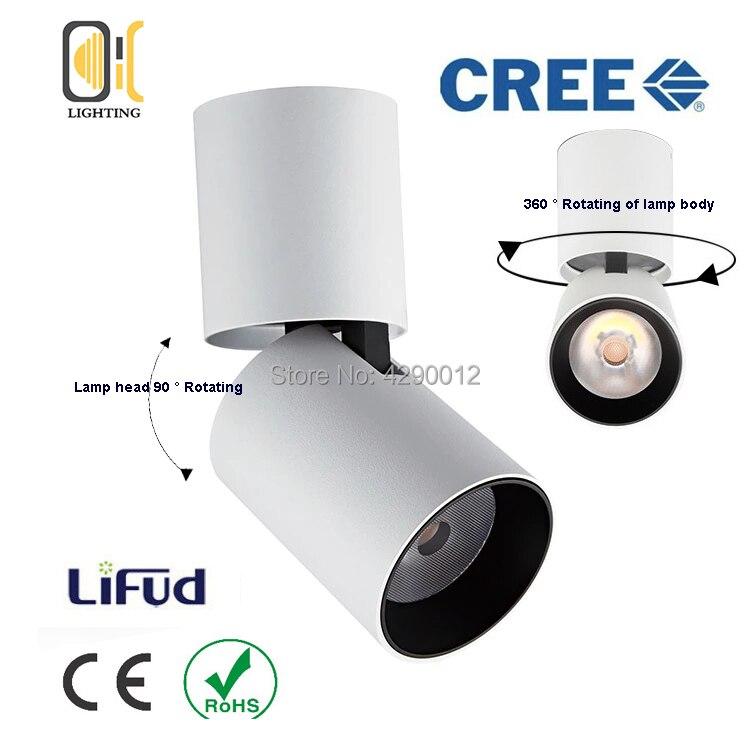 L'épi 12 W dimmable a mené la lumière de tache de plafond montée par Surface de downlights 360 degrés de Rotation Downlight blanc/noir AC85-265V