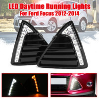 New Car Flashing Pair DRL For Ford Focus 3 2012 2013 2014 Daytime Running Lights Fog head Lamp cover Daylight with yellow signal