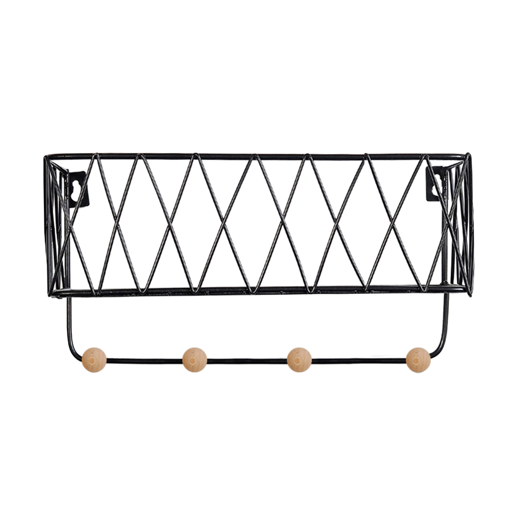 Nordic Style Wrought Iron Grid Wall Mounted Shelf Home
