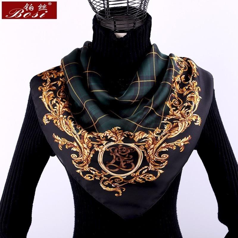 Scarf silk print women small square Plaid stripe shawl luxury brand scarfs satin sjaal stripe scarves foulard echarpe 70*70cm(China)