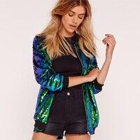 Fashion Women Sequins Coat Bomber Jacket Long Sleeve Zipper Streetwear Casual Loose Glitter Outerwear chaquetas mujer 2019