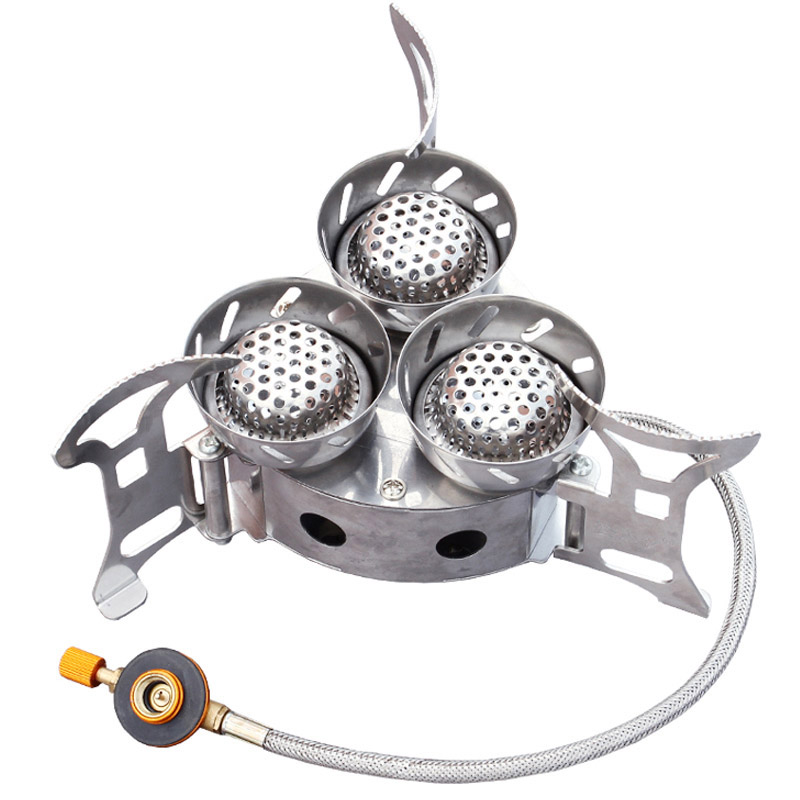 New Sale Outdoor Three Chambers Cooker Portable Folding Camping Fierce Fire Stove Picnic Hiking Cooking Gas