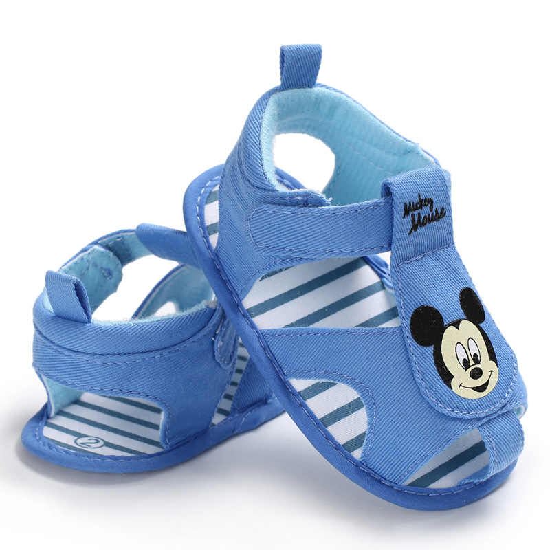 2019 verano recién nacido bebé suave Fondo primeros caminantes dibujos animados Color azul bebé niño verano Zapatos bebé niño cuna zapatos