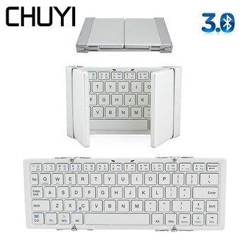 CHUYI Portable Bluetooth3.0 Foldable Wireless Keyboard Folding Mini BT Aluminum Pocket Keypad For IOSAndroidWindows PC Tablet