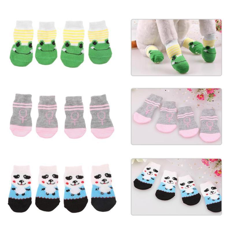 4Pcs Non-Slip Pet Socks Dog Foot Cover Cute Pet Rubber Bottom Teddy Socks Warm Puppy Dog Shoes Soft Knit Socks Puppy Pet Product Собака