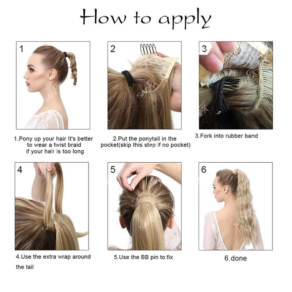 SARLA 22 ''perwersyjne proste syntetyczne przedłużanie kucyka Clip-in koński ogon naturalne włosy do przedłużania żaroodporne kawałki włosów P009