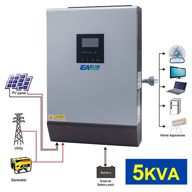 5KVA 4000W Solar Hybrid Inverter Pure Sine Wave 220VAC Output Parallel inverter Built in PWM 48V 50A Solar Charge Controller-in Inverters & Converters from Home Improvement    1