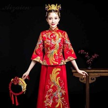 Orientale Vintage Gown Bride Long Cheongsam Dresses Red Chinese Wedding Dress Qi Pao Women Robe Rouge Chinoise Embroidery Qipao все цены