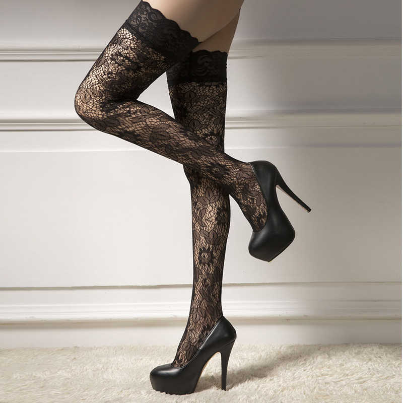 469966c337c1a ... 2019 Lady Women Stockings Sheer Lace Top Stay Up Thigh High Hold Ups  Pantyhose Sexy Long ...