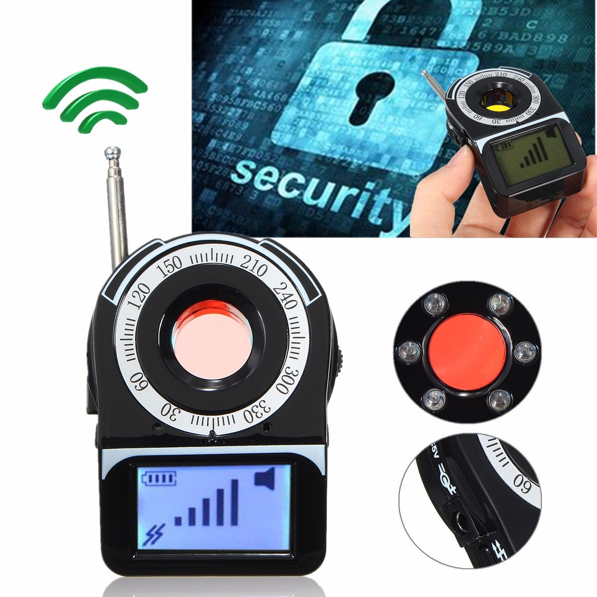 Détecteur de bogue d'appareil-photo de traqueur de WIFI G4 RF de Signal de GSM de GPS détecteur Anti-espion détecteur de caméra candide