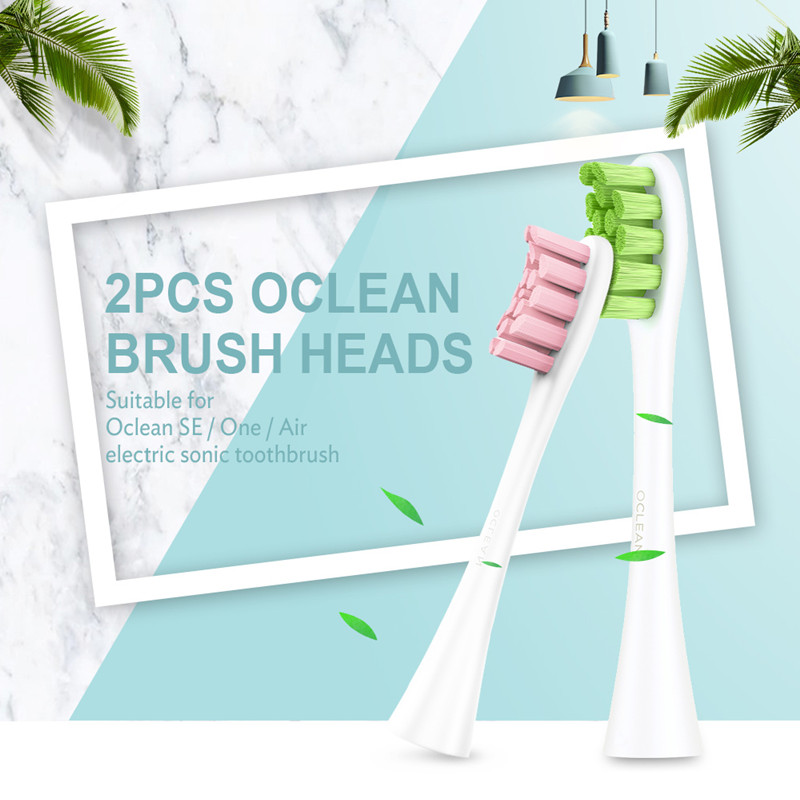 XIAOMI 2pcs Oclean SE / One /Air Replacement Brush Heads For Automatic Electric Sonic Toothbrush Deep Cleaning Tooth Brush HeadsXIAOMI 2pcs Oclean SE / One /Air Replacement Brush Heads For Automatic Electric Sonic Toothbrush Deep Cleaning Tooth Brush Heads