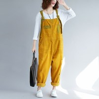 Loose Corduroy Jumpsuits Retro Vintage Sleeveless Ripped Jumpsuits Casual Suspender Overalls Strapless Paysuit