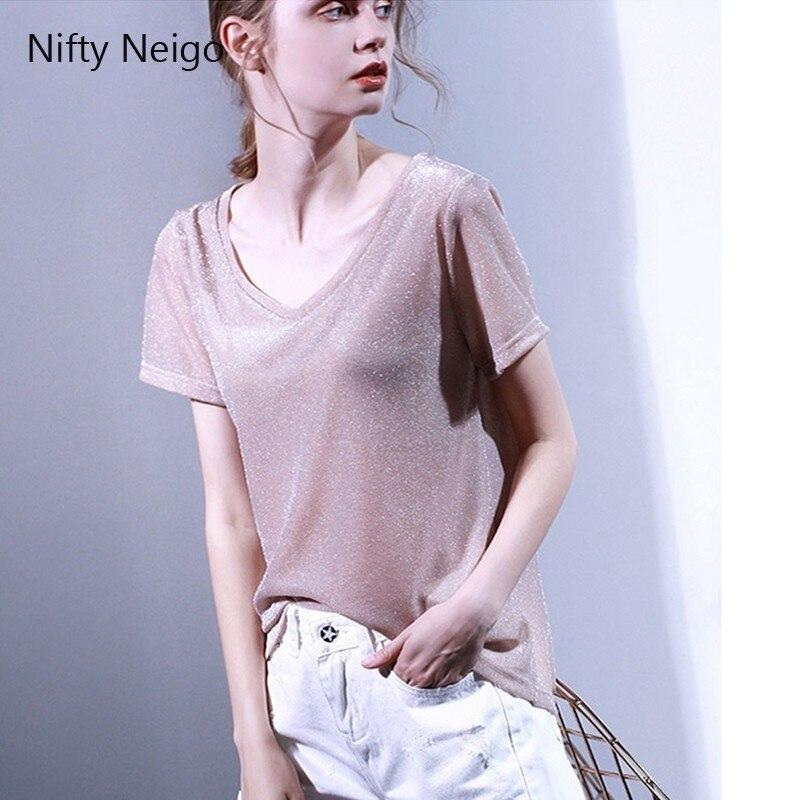 Niful Neigo bureau dame Harajuku Giltter T Shirt solide hauts amples t-shirts été Sexy Slim décontracté femmes t-shirt