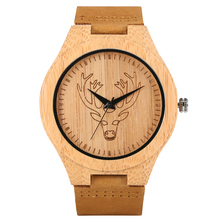 Engraved Brown Quartz Wooden Watch Handmade Ultralight Bamboo Elk Head Pattern C
