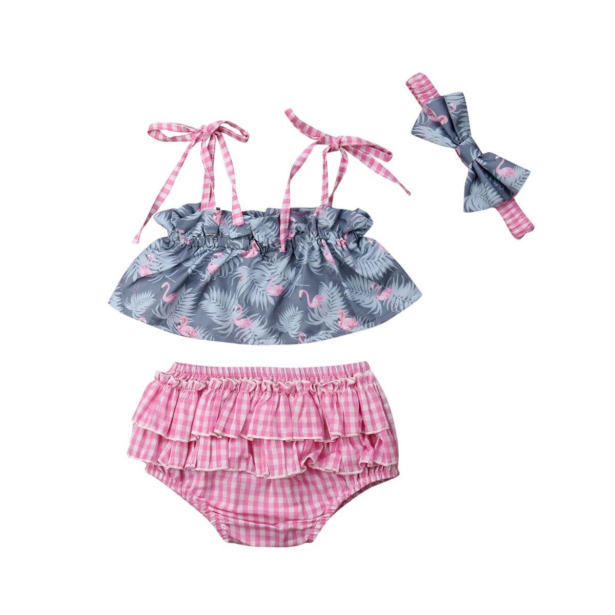 0-24 M Leuke Pasgeboren Baby Meisje Mouwloze Strap Tank Tops Roze Plaid Tutu Ruches Shorts Kindje Bloeiers Hoofdband 3 Pcs Kleding Set Winst Klein