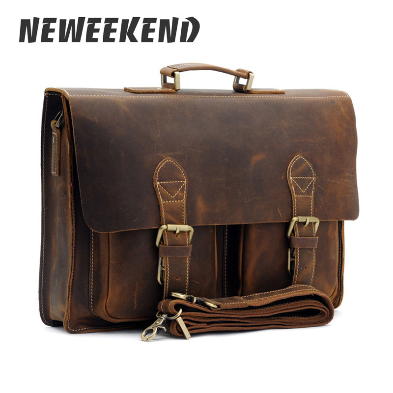 Top Grade Male Men's Vintage Real Crazy Horse Leather Briefcase Messenger Shoulder Portfolio Laptop Bag Case Office Handbag 1061-in Briefcases from Luggage & Bags