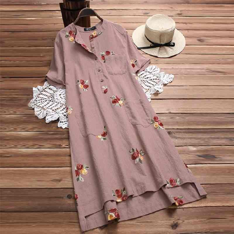 3009c38c4 2019 Plus Size Summer Women Casual Short Sleeve Shirt Dress Vintage Embroidery  Cotton Linen Party Long