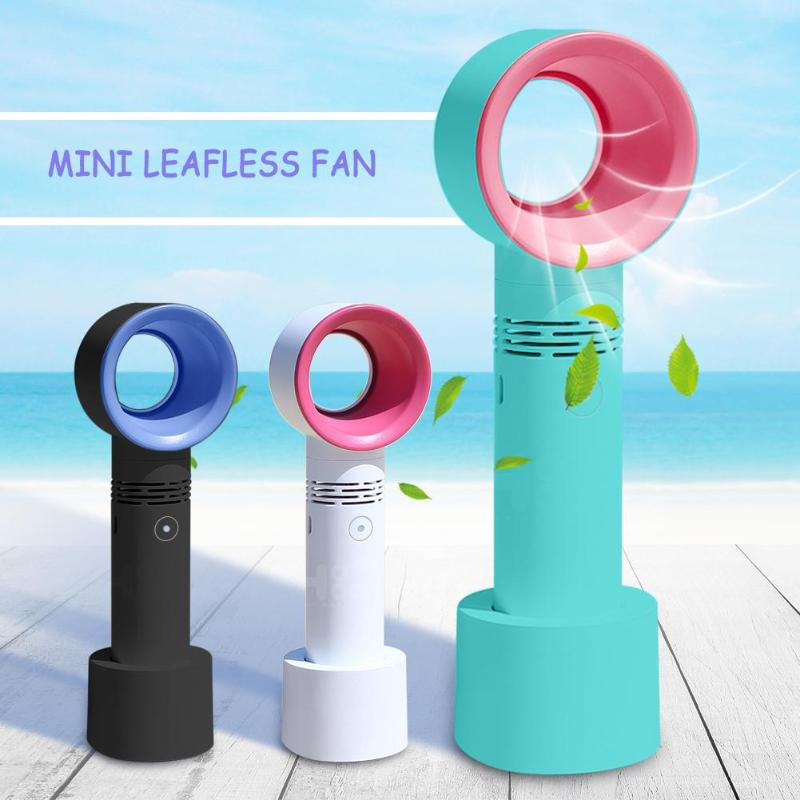 Portable USB Rechargeable Portable Bladeless Fan Handheld Mini Cooler No Leaf Handy Cooling Fan With 3 Fan Speed Level Dropship