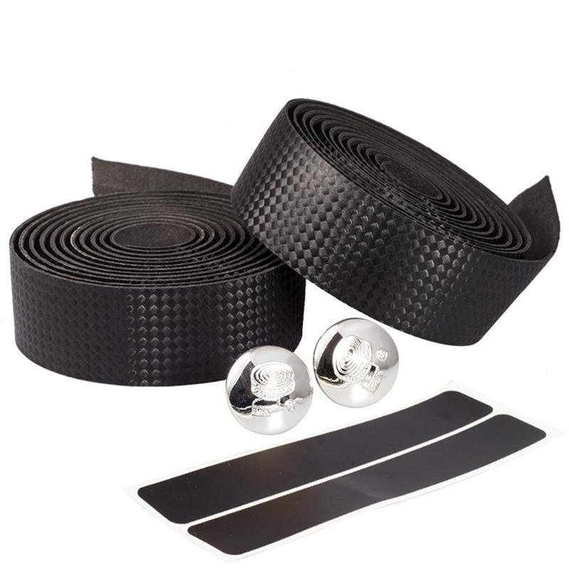 2 Bar Bicycle With Carbon Fiber Handlebar Tape Bicycle Racing Handle Tape+2 Bar Handlebar Plug Non-slip Durable Tape