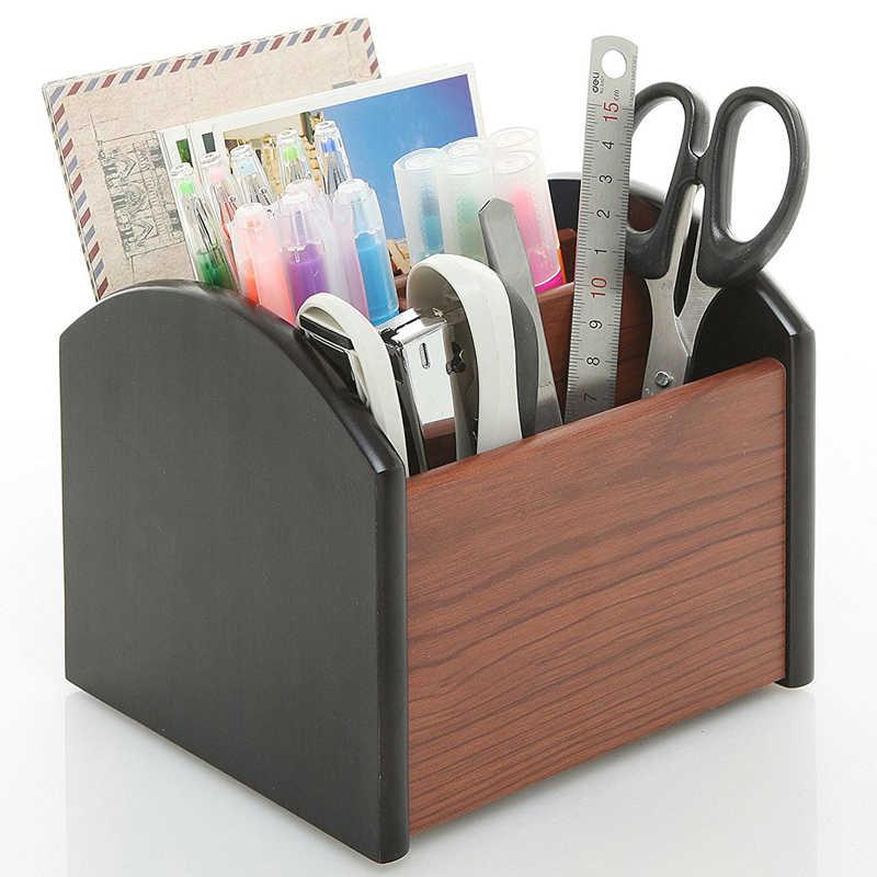 Роскошный Деревянный Настольный органайзер для офиса, деревянная подставка для ручек, сортировщик с ящиком
