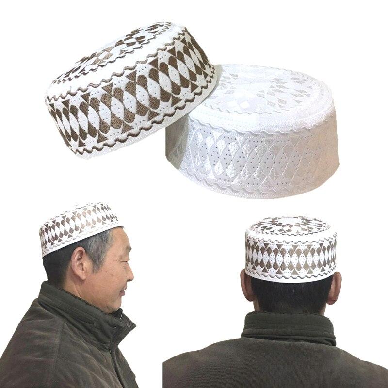 Muslim Bonnet Cap Hats Arabic Men Prayer Islam Egyptian Kufi Topi Men's Accessories Saudi Arabia African Head Wraps Brown Hats