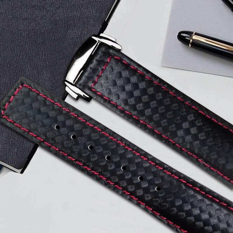 Pour Samsung Galaxy Watch 46mm Bracelet en cuir véritable en Fiber de carbone pour Gear S3 Bracelet en cuir frontière classique pour Amazfit