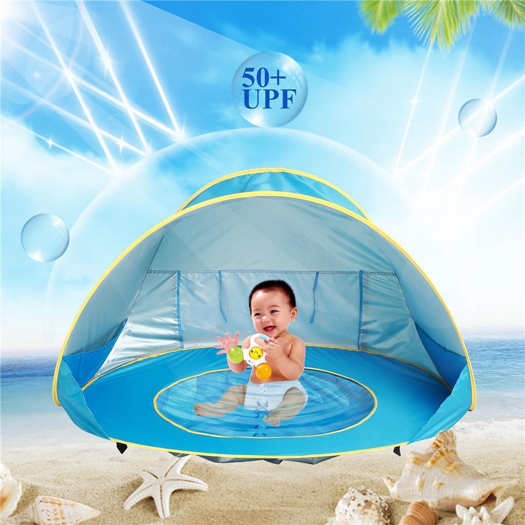 Pop Up bébé plage tente avec ombre piscine Protection UV auvent soleil abri Playhouse cabane pour bébé eau sable jouet 50 + UPF Portable