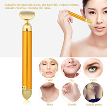 Slimming Face Roller 24k Gold Vibration Facial Beauty Massager Stick Lift Skin Lotus Leaf Tightening Wrinkle Bar