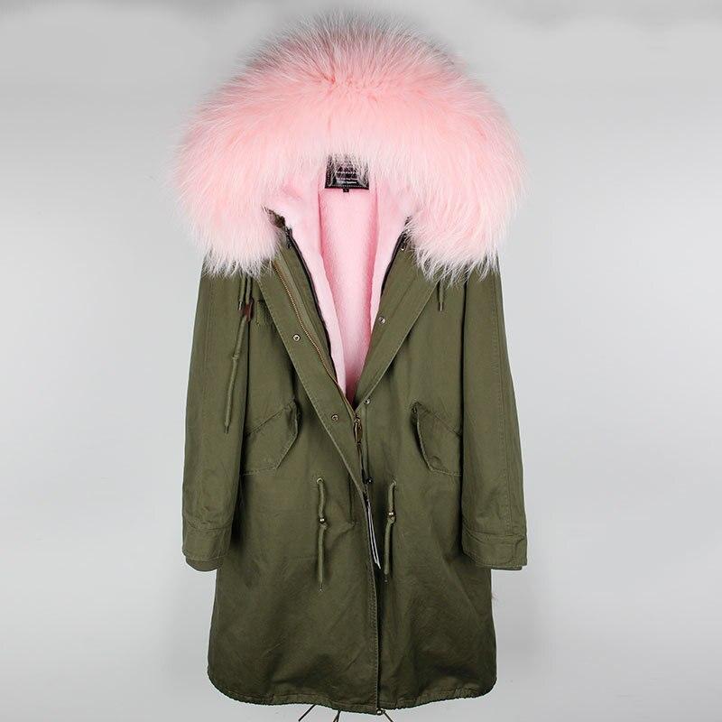 Naturel 6 Long 3 Col 4 Fausse Fourrure Laveur De Réel Streetwear 1 D'hiver Femmes Armée Manteau Vert 5 Veste Doublure 2 Parka Raton IbgYymf6v7