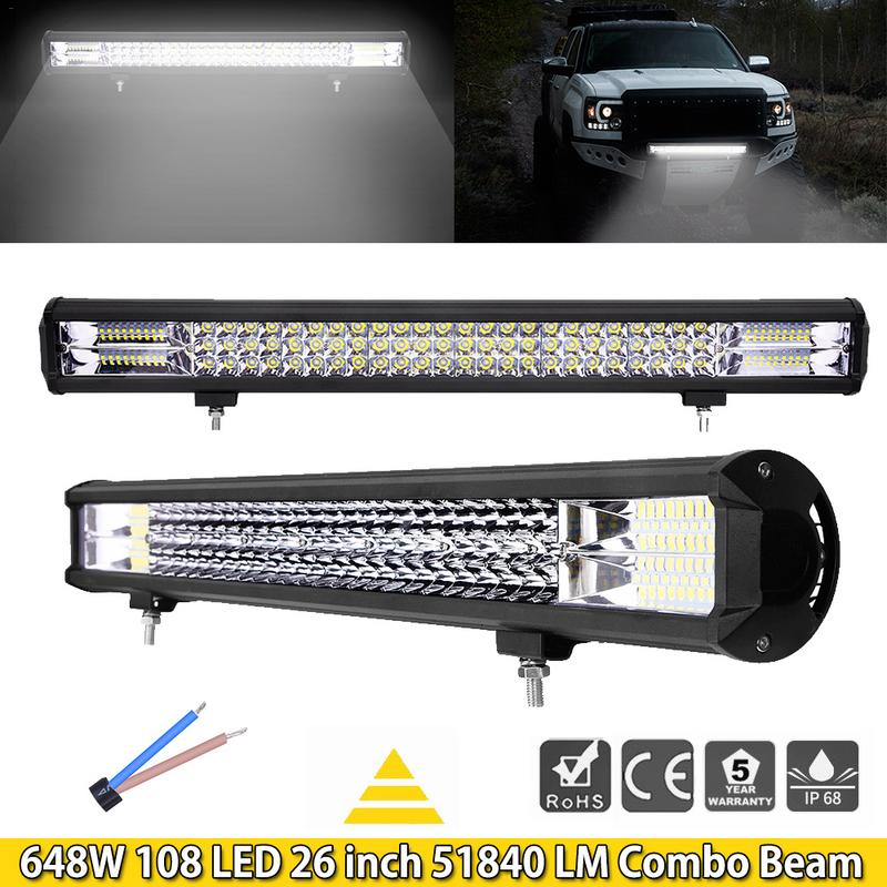 GERUITE 26 Inch 648W 108 LED Work Light Bar 6D Flood Spot Road Led Light Bar Car Front Bumper Spotlight Lights For SUVGERUITE 26 Inch 648W 108 LED Work Light Bar 6D Flood Spot Road Led Light Bar Car Front Bumper Spotlight Lights For SUV