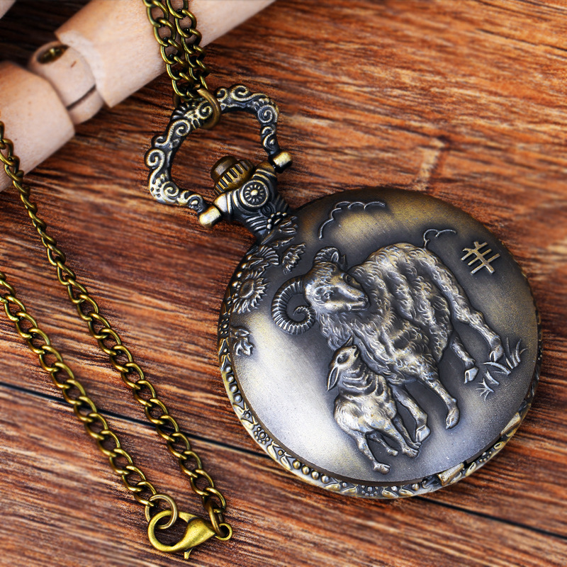 Pocket & Fob Watches Chinese Zodiac Animal  Sheep  Quartz Pocket Watches Vintage Fob Watches  Gift for Men/Women