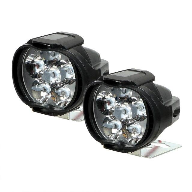 Farol de led para motocicleta, 2 peças, 6500k, branco, super brilhante, 6 leds, luz para névoa 1200lm holofote luz