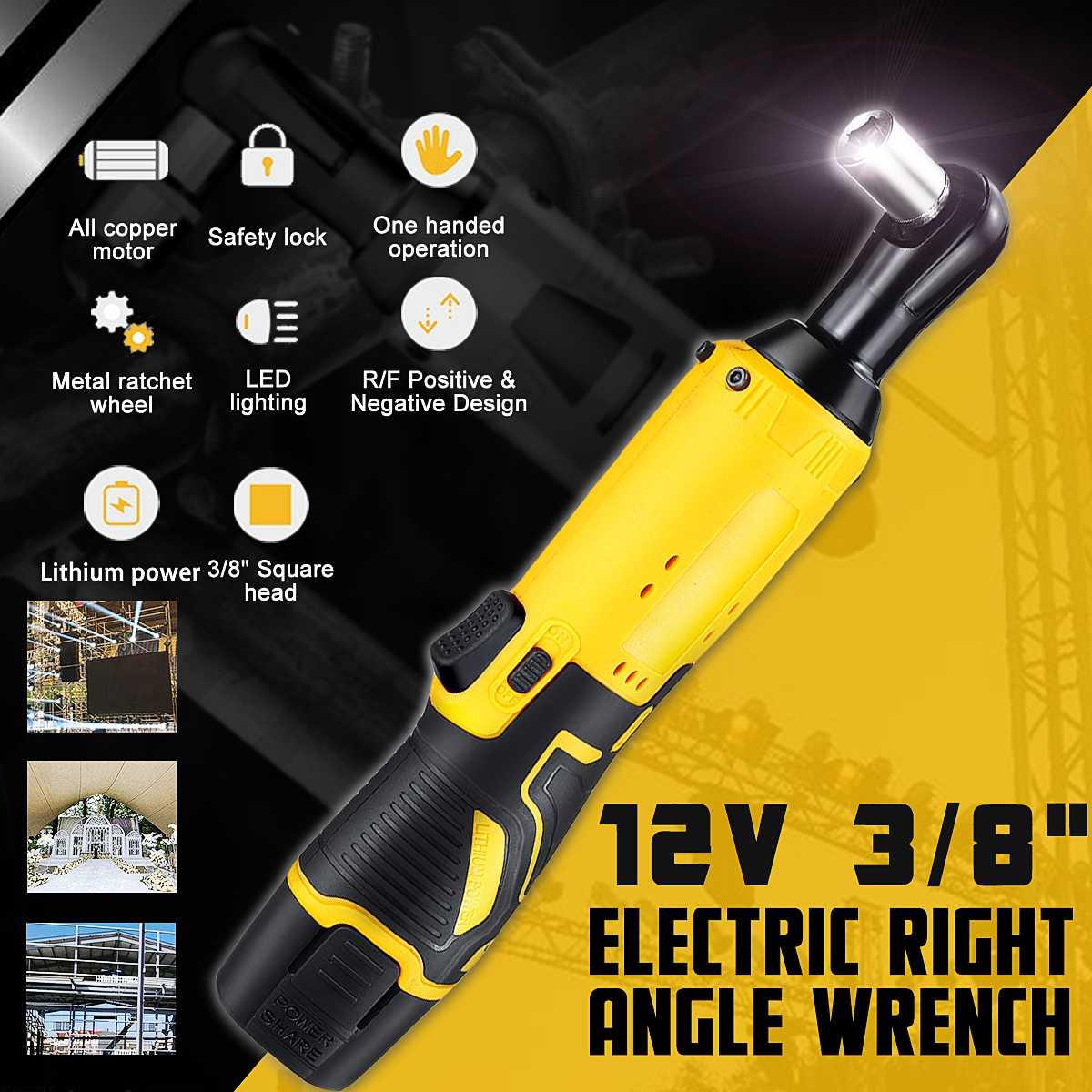 12 V Portable électrique sans fil clé 3/8 ''45N. m Rechargeable 1500 mAh cliquet 90 ° Angle droit clé ensemble outils électriques