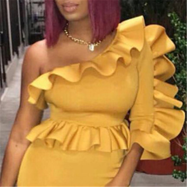 Women Blouse Tops Shirts One Shoulder Sexy Peplum Ruffles Slim Party Wear Summer New Fashion Elegant Ladies White Yellow Bluas
