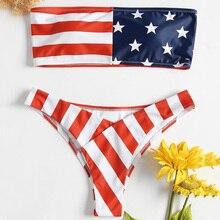 4a8496f2380 Belleziva American Flag Bandeau Bikini Set Women Sexy Swimwear Padded Beach  Swimsuit Bathing Suit Female Biquinis