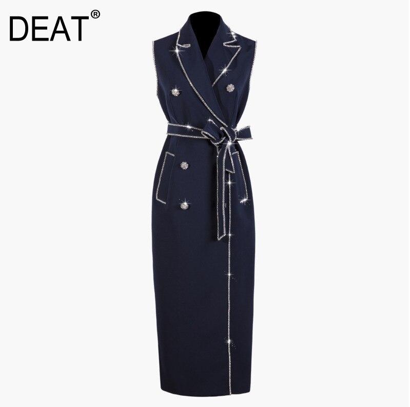 DEAT 2019 New Summer Fashion Women Dress Turn down Collar Double Breasted High Waist Long Sleeveless