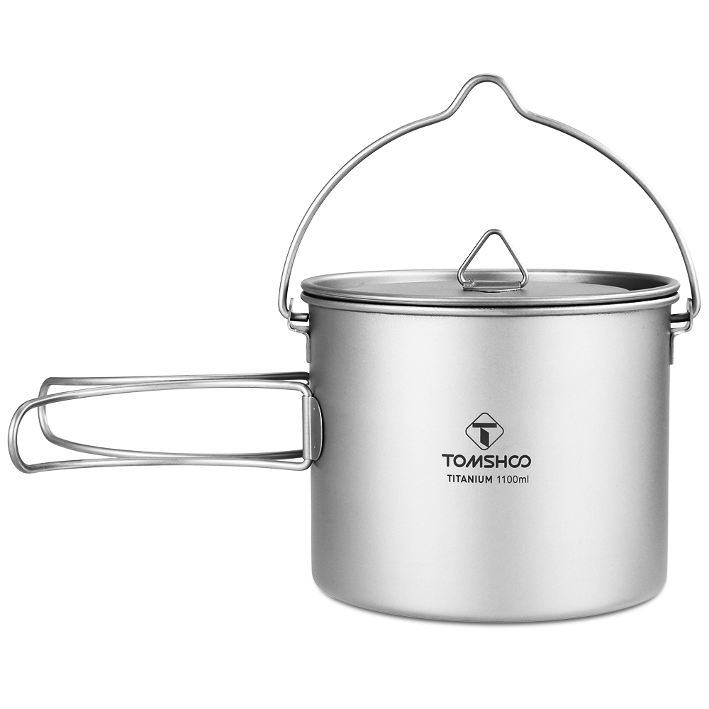 TOMSHOO 1100ml Titanium Pot Titanium Water Mug Cup with Lid and Foldable Handle Outdoor Camping Pot Cooking Pots Picnic Hang Pot lid