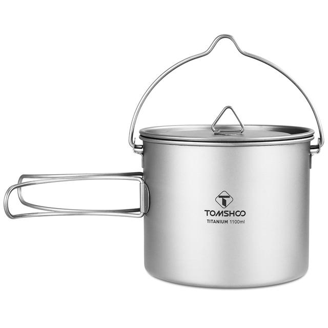 TOMSHOO 1100 ml Titan Topf Titan Wasser Becher Tasse mit Deckel und Faltbare Griff Outdoor Camping Topf Kochen Töpfe Picknick hängen Topf